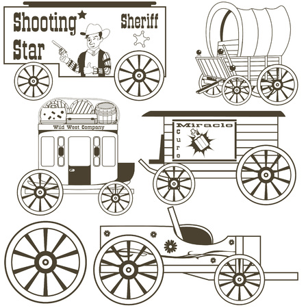wagon wheel: covered wagons outlined