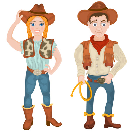 cowgirl and cowboy: illustration of two smiling cowboy characters: a girl and a boy.
