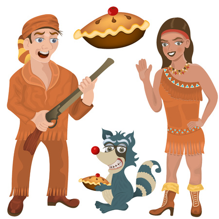 period costume: illustration of wild west characters: a hunter, a young Indian girl and a raccoon with a pie.