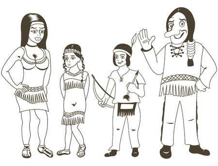 indian family: illustration of Native American family outlined for coloring book.