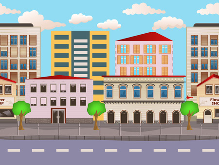 fences: illustration of urban buildings seamless background