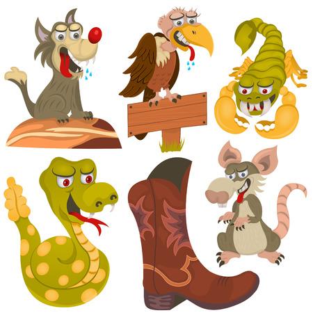 ilustración de animales salvajes del oeste y una bota de vaquero.