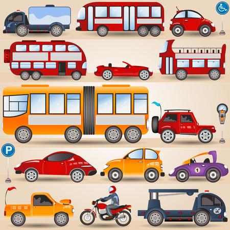 hauler: Great illustration of different wheels: motorbike, urban city and sport cars, trucks, bus. Illustration