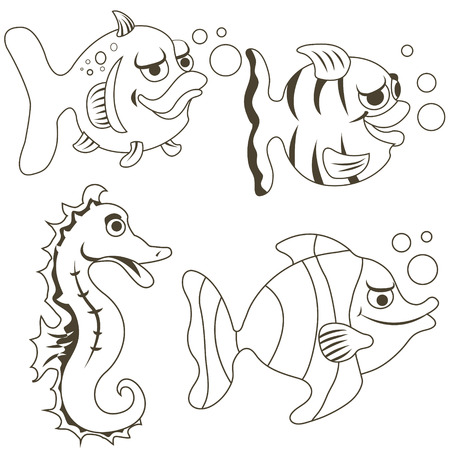 one child: cartoon fish outlined collection for childrens coloring book