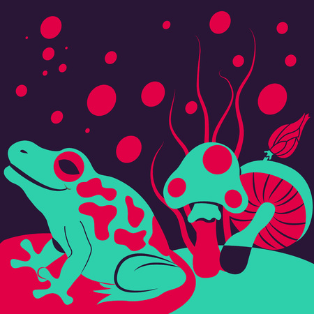 deranged: illustration of a frog with mushrooms deranged background. Illustration