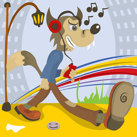 listening to music: illustration of a wolf listening music while he walks.