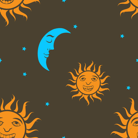 astral: illustration of Sun and moon seamless background
