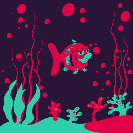 deranged: illustration of a small fish under the water, deranged background. Illustration