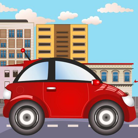urban landscapes: Vector illustration of an urban city red car icon.