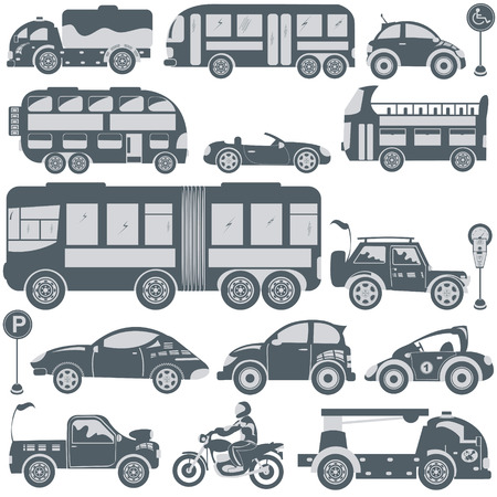 bus parking: Great vector collection of different blue transport icons.