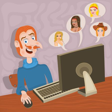 chat room: illustration of a young guy looking for an on line date.