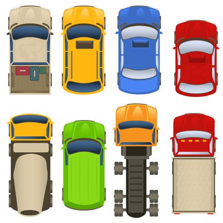 coches y camiones vista superior
