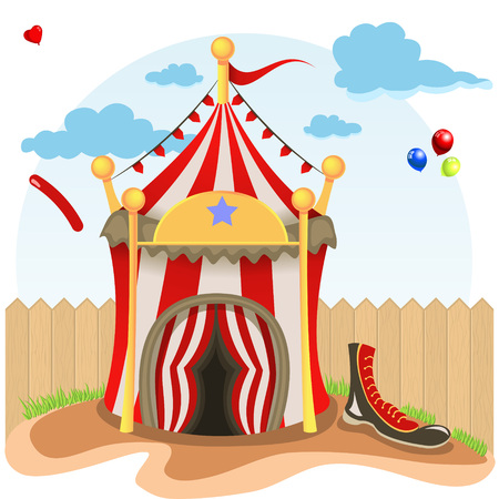 beside: illustration of circus tent beside wood fence