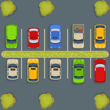 Estacionamiento vista desde arriba