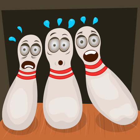 scare: scared bowling pins Illustration