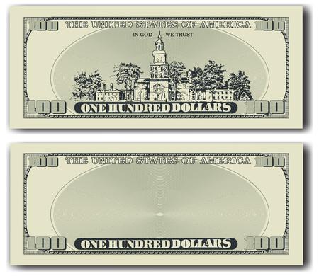 100 dollar bill andere kant Stock Illustratie