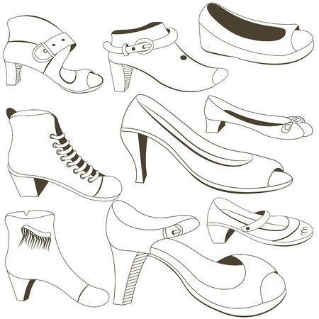 footwear: woman footwear collection icons Illustration