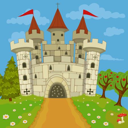 middeleeuws kasteel op een heuvel