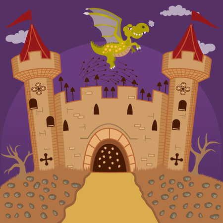 castello medievale: castello medievale difendere da un drago Vettoriali