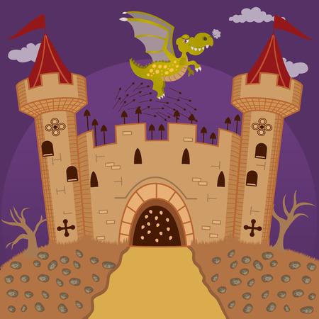 defending: medieval castle defending from a dragon Illustration