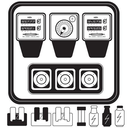 contador electrico: contadores eléctricos analógicos con fusibles - mono color Vectores