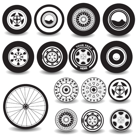 front wheel drive: tires black icons