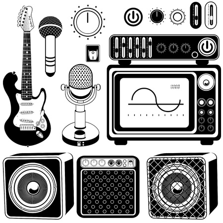 guitar amplifier: amplifier and guitar set of icons Illustration