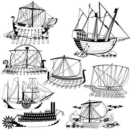 sailing ships: Old sailing ships Illustration