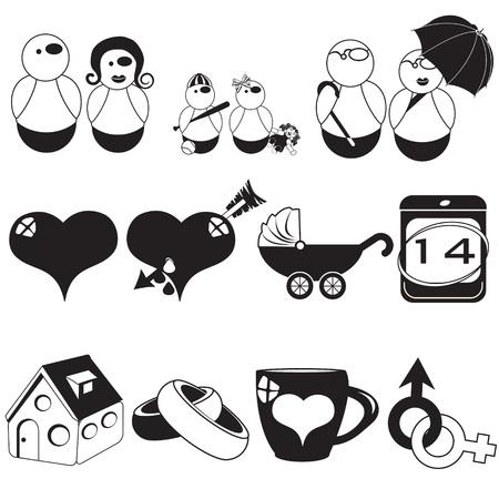 mama e hijo: ilustración vectorial de iconos negros diferente de la familia Vectores