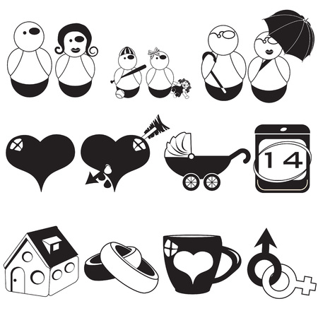 mom and son: Vector illustration of different family black icons