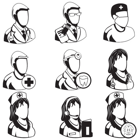 general practitioner: Vector illustration of different medical black icons - professions