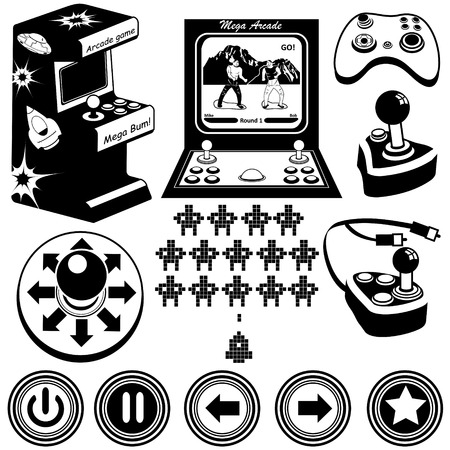 space invaders game: Vector black illustration of arcade electronic  game machines, joysticks and buttons