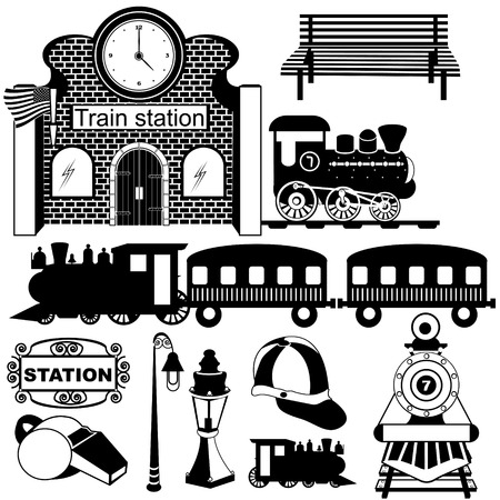 Ilustración vectorial de viejos iconos negros de la estación de tren