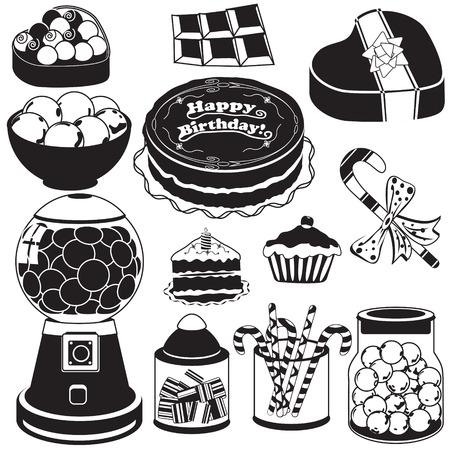 hart: Vector illustration of candy black icons Illustration