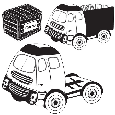 heavy vehicle: Vector illustration of transport truck black collection