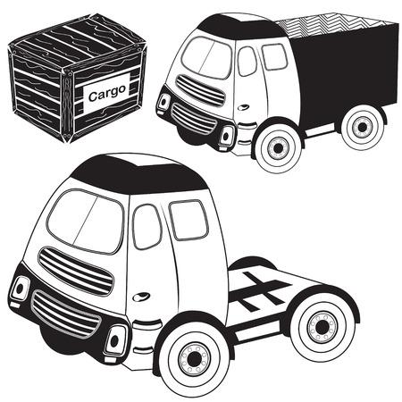 transport truck: Vector illustration of transport truck black collection