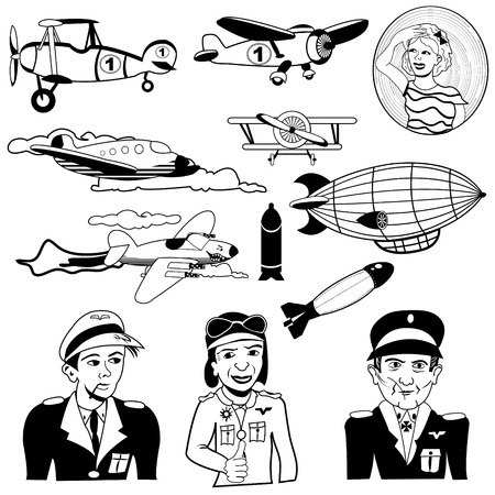 bombardier: Vector illustration of different airplane black icons