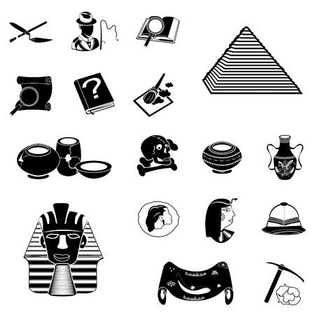 old ruin: Vector illustration of different archeology black icons Illustration