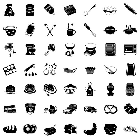 cookie cutter: Vector illustration of basic bakery black icons