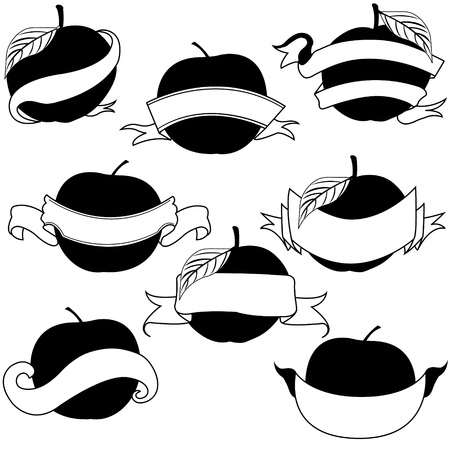 Vector illustration of black apples with white ribbon banners