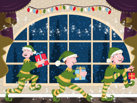 Three magic Christmas elves is sneaking through the house with their gifts, at the night of Christmas.