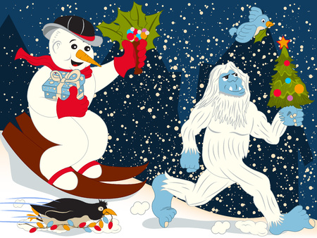 A snowman, a penguin, a small bird and a yeti running to the Christmas eve.