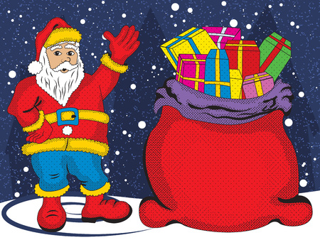 Vector illustration of a Santa Claus with his bag full of gifts, greeting us on a snow