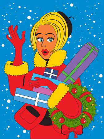 Vector illustration of a greeting young shopping woman in pop art style, with her gifts and a Christmas wreath. Ilustração