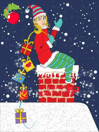 Vector illustration of a young girl elf bringing gifts through the home chimney