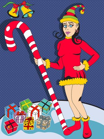 Vector illustration of pinup elf young woman holding a candy cane and posing with Christmas gifts Ilustração