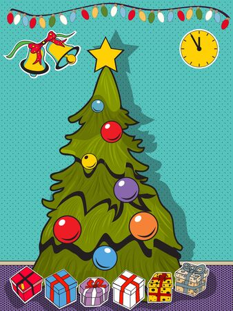 chrstmas: Vector illustration in comic art style of a Christmas tree with lot of different gifts. Illustration