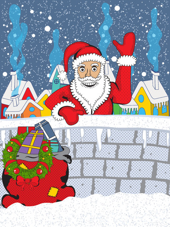 chrstmas: Vector illustration of a Smiling Santa Claus with his bag full of gifts, greeting us behind a small village wall, on a snowy winter Christmas eve.