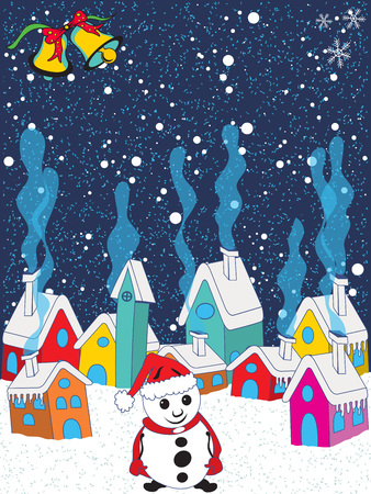 Vector illustration of a small sleepy winter village with a snowman on a Christmas eve.