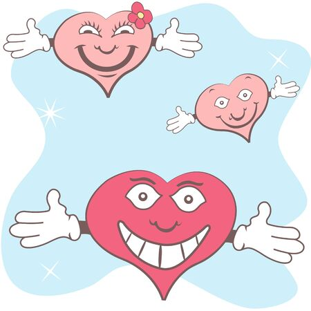 Funny vector illustration of cartoon hearts with open hands Ilustração